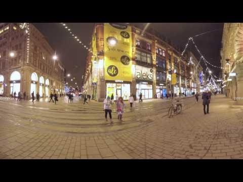 360 VR Illuminated Aleksanterinkatu street at night. Helsinki, Finland