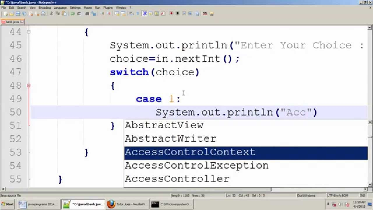 Bca program creating bank account using switch case in - Switch case java ...