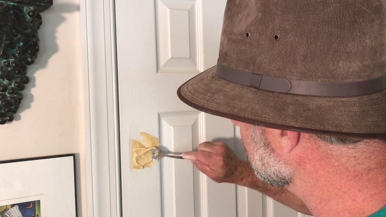 How to fix a broken door- water putty repair & Easy hole repair. How to fix a broken door- water putty repair - YouTube