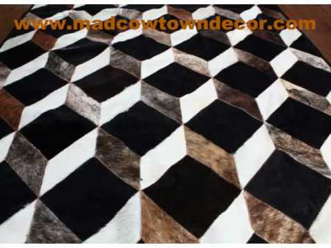 cowhide rug cow hide patchwork carpets cowskin leather by madcowtown mad cow town youtube