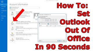 How To Set Out Of Office In Outlook 2013