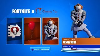 "CLAIM the FREE ""IT 2"" ITEMS in Fortnite *PENNYWISE SKIN* (Fortnite x IT Chapter 2)"