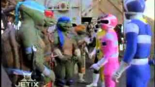 The Power Rangers meet the Teenage Mutant Ninja Turtles This scene ...