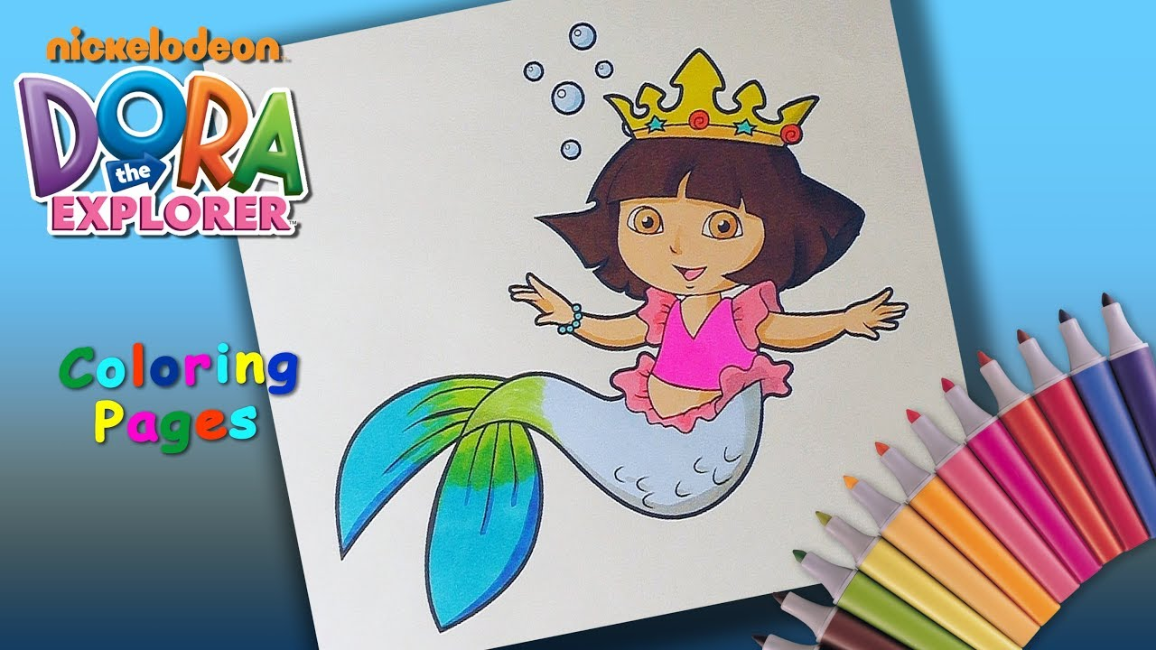 Dora The Explorer Coloring Book Mermaid Pages For Children