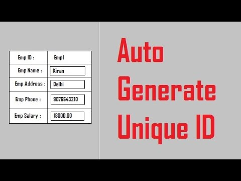 Auto Generate Unique ID in Asp.net by Using C# Coding