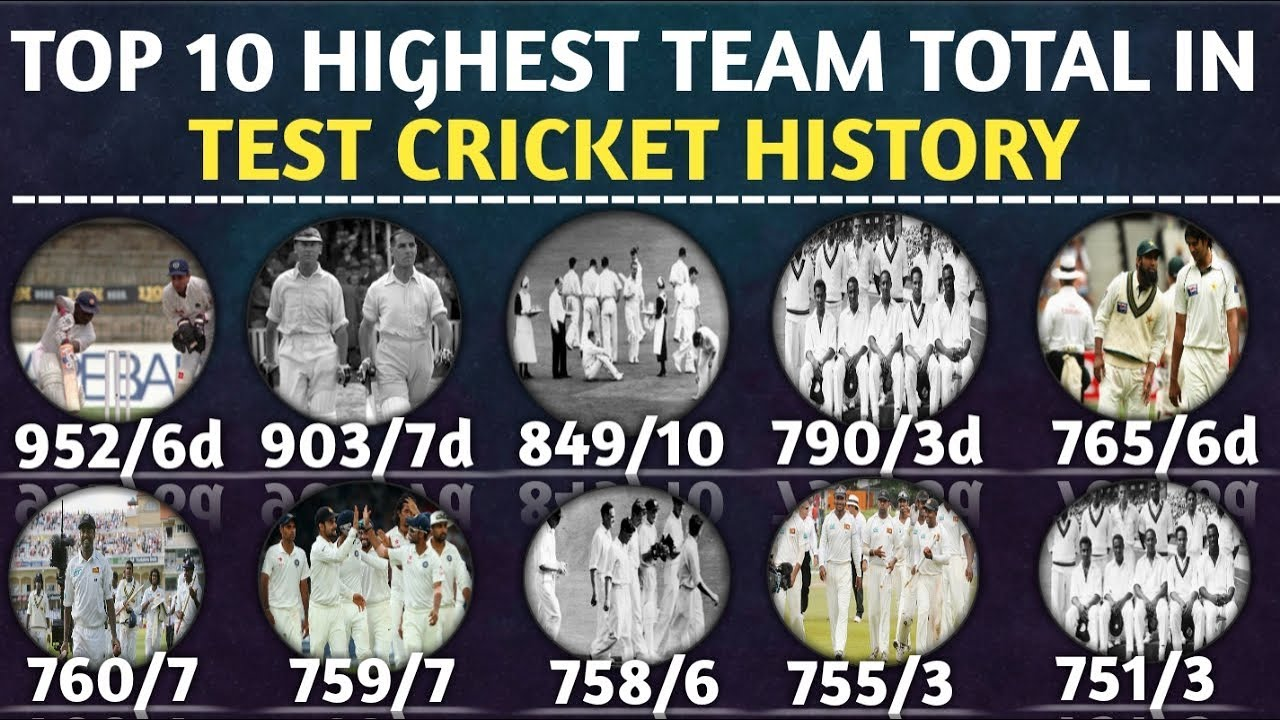 Top 10 Highest Team Total In Test Cricket History Highest Team Score In Test Inning By The Team Youtube