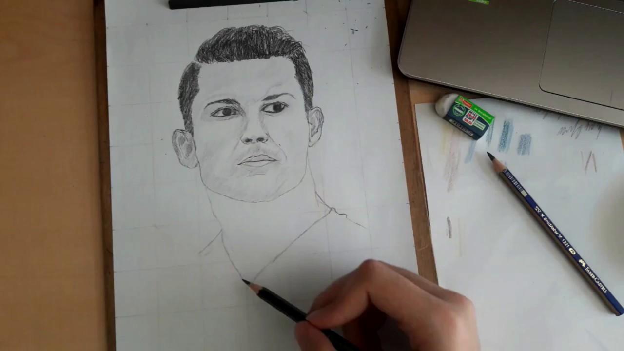 Cristiano Ronaldo çizimi ünlülerin Portre çizimi Bölüm1 Youtube