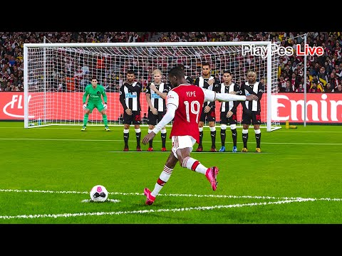 PES 2020 - Arsenal Vs Newcastle United - Full Match & N. Pepe Free Kick Goal - Gameplay PC