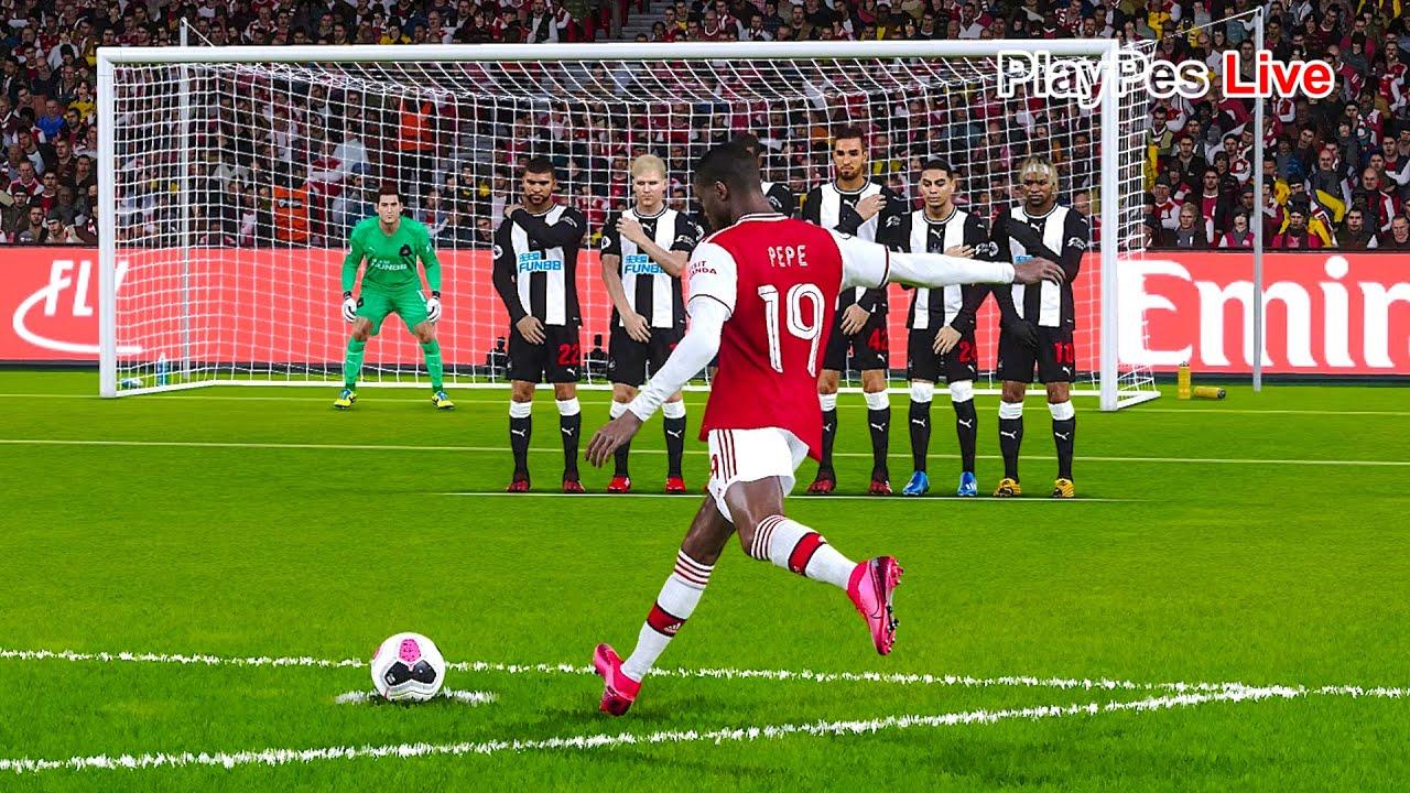 Pes 2020 Arsenal Vs Newcastle United Full Match N Pepe Free Kick Goal Gameplay Pc Youtube
