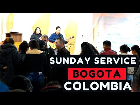 Preaching sunday service in southern Bogota, Colombia