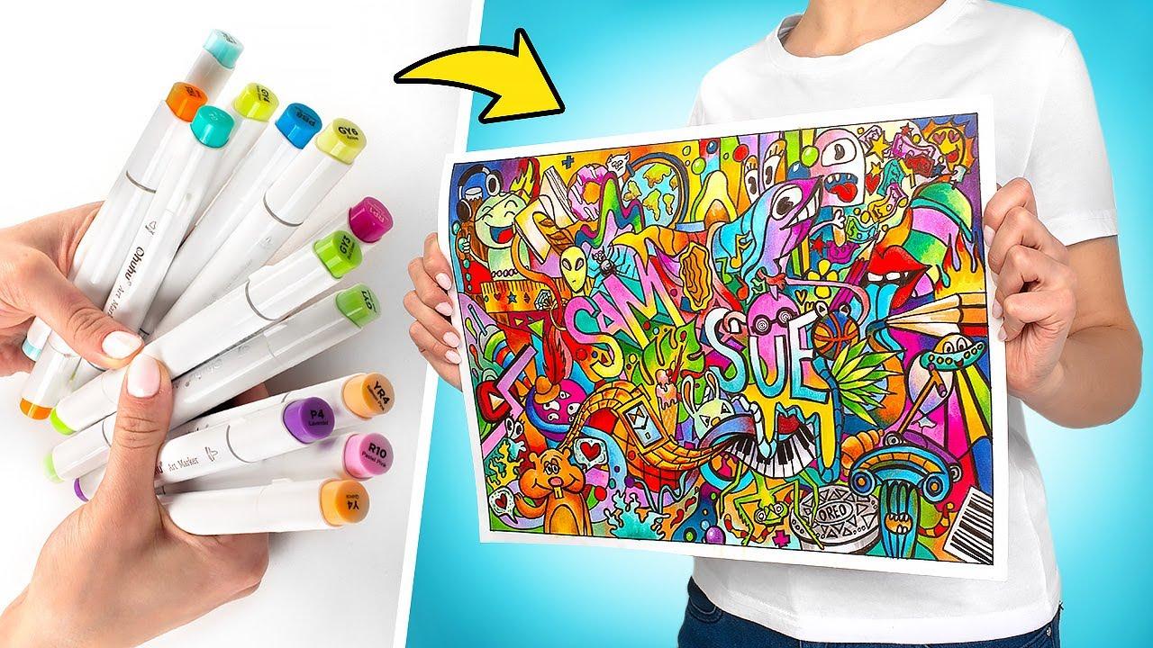 ARTE INCRÍVEL | Pintura Multicolorida com Canetinhas 🎨