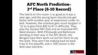 2012 Cincinnati Bengals Football Predictions