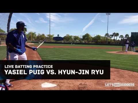 Dodgers Yasiel Puig vs. Hyun-Jin Ryu live batting practice