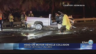 Two hospitalized after a head-on car crash in Hawaii Kai