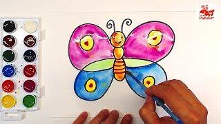Как нарисовать БАБОЧКУ Акварелью : уроки рисования для детей