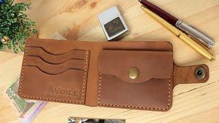 Мужской кожаный кошелек ручной работы VOILE vl-cw1-lbrn-tbc. купить недорого - видео обзор