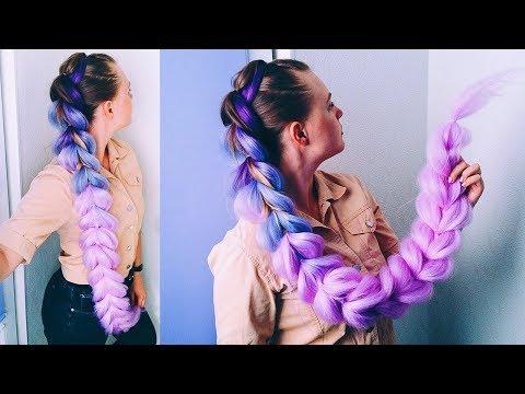 Французская коса с Канекалоном из Резинок. Cotton Candy Braid/ Kanakelon Braid