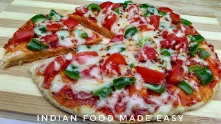 Tawa Pizza Recipe in Hindi by Indian Food Made Easy | How to Make PAN PIZZA at Home Without Oven