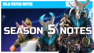 SEASON 5 PATCH NOTES! New 5.0 Update Details! Fortnite Update NEWS