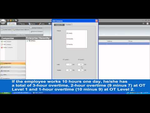 ZKTime net tutorial Chapter 3  Add companies and departments, and the company's payroll and overtime