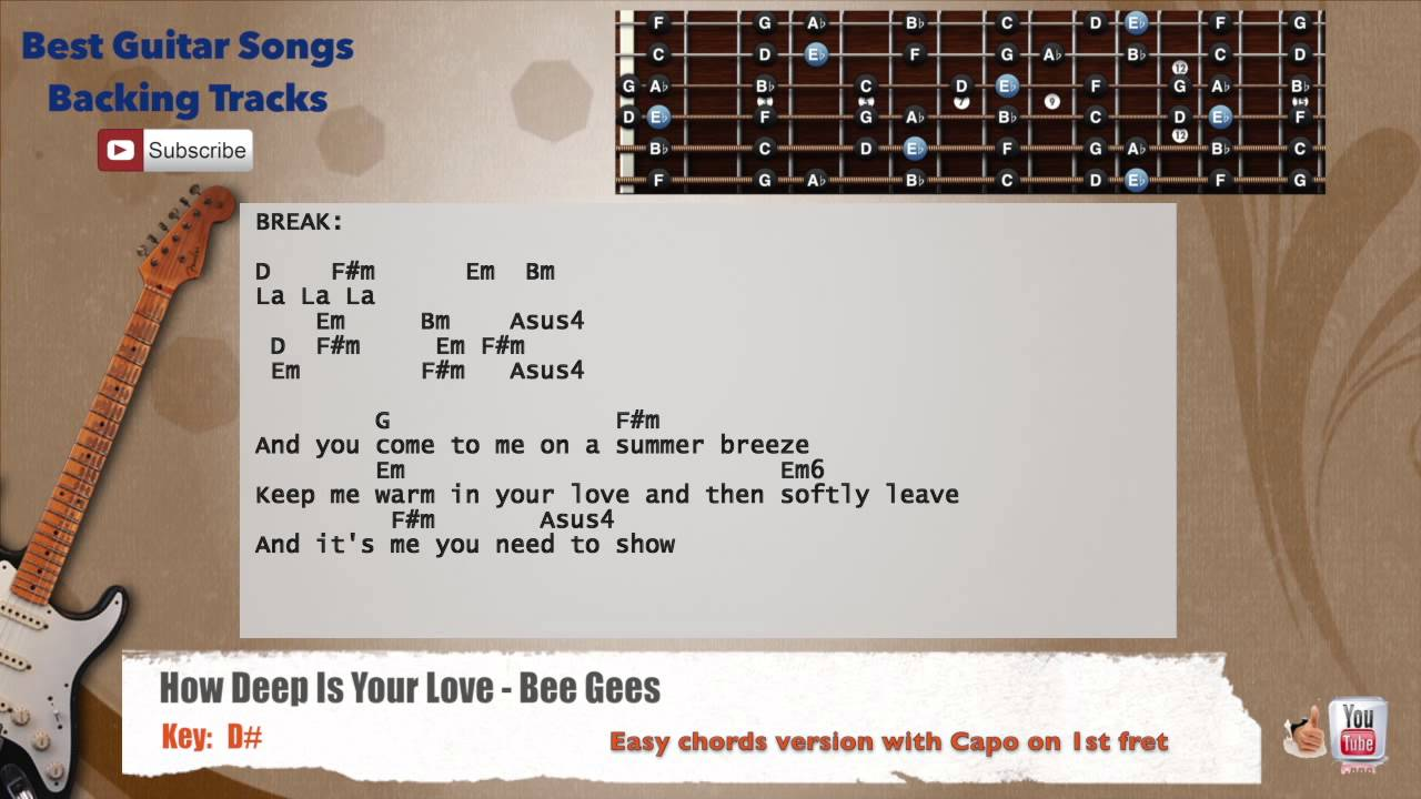 How Deep Is Your Love Bee Gees Guitar Backing Track With Scale