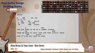 How Deep Is Your Love - Bee Gees Guitar Backing Track with scale, chords and lyrics