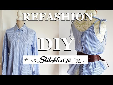 DIY Refashion men's shirt into a strappy camisole top