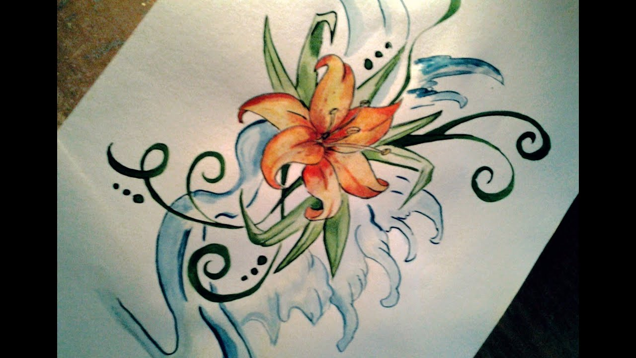 Easy lily tattoo drawing youtube ccuart Choice Image