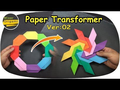 How to make a paper transformer Ver 2- paper ninja star | Mixer origami