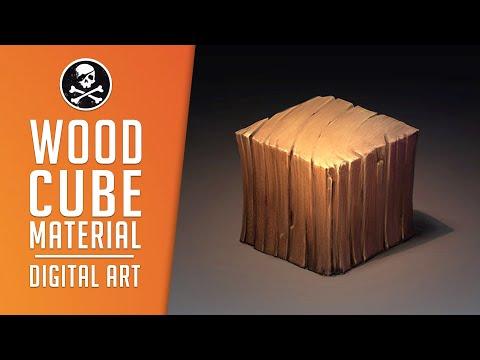 Wood Cube ● Material Digital Drawing Process [ SephirothArt ]