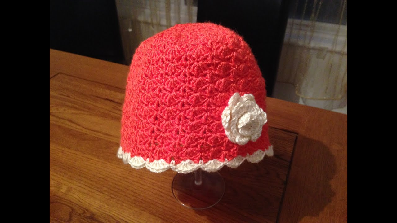how to crochet a girl hat using a shell stitch