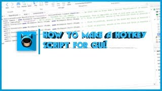 ROBLOX How to Make a Hotkey Script for GUI!