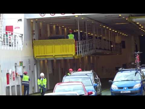 Mezzanine deck being lowered on Caledonian MacBrayne MV Loch Seaforth