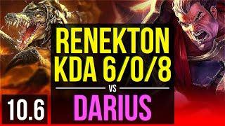 RENEKTON vs DARIUS (TOP) | KDA 6/0/8, 800+ games, 2 early solo kills | KR Diamond | v10.6