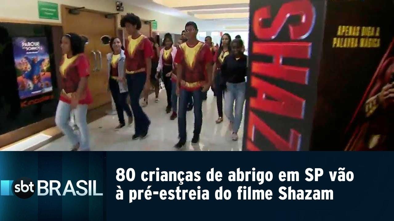 80 crianças de abrigo em SP vão à pré-estreia do filme Shazam   SBT Brasil (30/03/19)