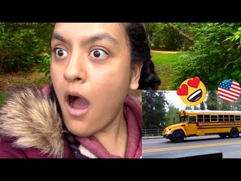 First Time Seeing An American School Bus FREAKOUT! VLOG