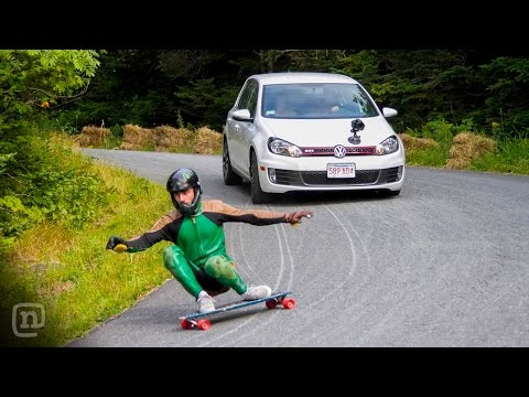 Longboard Skateboarder Blazing Down Ryan Tuerck's Burke Mountain Road at 55mph