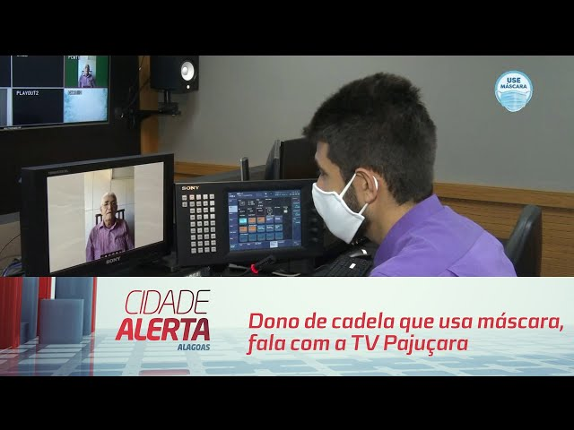 Dono de cadela que usa máscara, fala com a TV Pajuçara