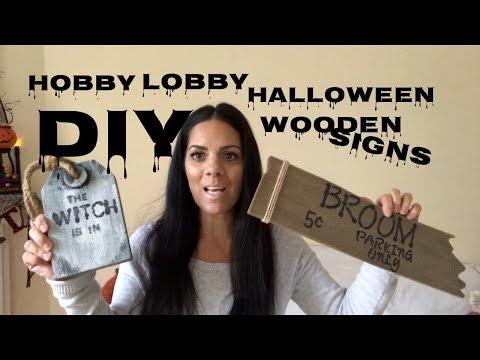 DIY HALLOWEEN WOODEN SIGNS- HOBBY LOBBY