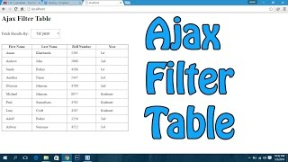 Jquery Ajax Filter Table(This is simple tutorial without any validation. No Security [+] Visit My New Channel : https://youtube.com/tutoidcf Visit Website For More tutorials and information., 2016-05-03T17:31:22.000Z)