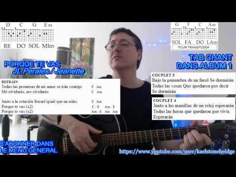 PORQUE TE VAS - Tuto 1/4 Guitare Débutant complet + TAB + Paroles - J L Perales - Jeanette