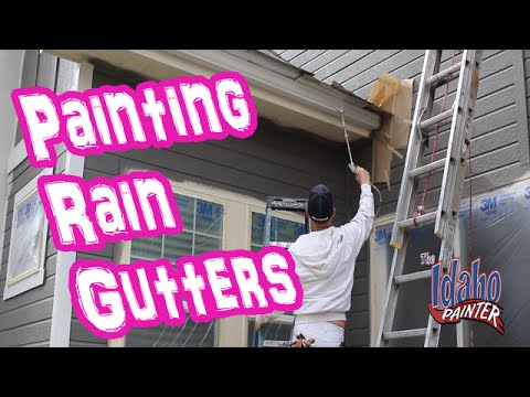 Painting Rain Gutters On A House. Part 2 Metal Gutter Painting.
