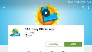2nd Chance Draw Via CA Lottery App - Android or Apple