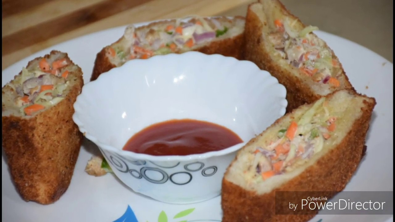 Evening snack recipe/bread pocket recipe malayalam - YouTube