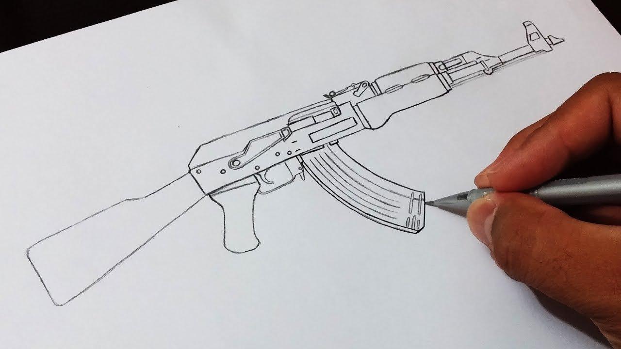 Como Desenhar Fuzil Ak 47 How To Draw Rifle Ak 47