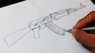 Como Desenhar Fuzil AK-47 - How to draw Rifle AK-47