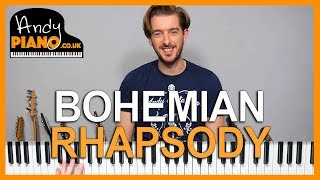 QUEEN - BOHEMIAN RHAPSODY Piano Lesson Tutorial // Simplified Chords
