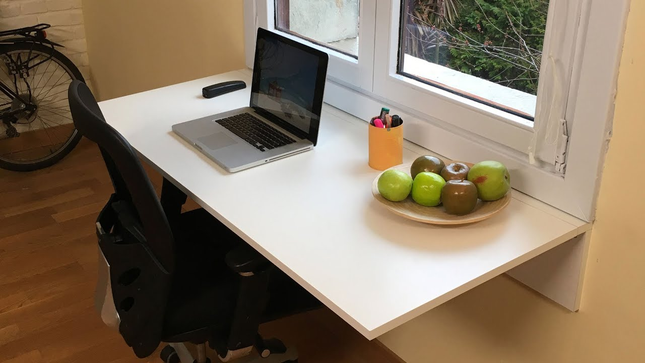 C mo hacer un escritorio abatible o plegable bricoman a - Mesa de escritorio plegable ...