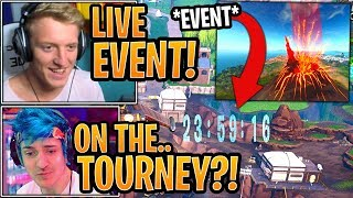 Streamers React to *NEW* Loot Lake / Volcano LIVE Event Countdown Timer! - Fortnite