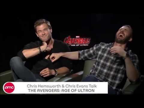 Chris Evans and Chris Hemsworth are High - Hillarious AoU interview